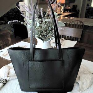 Saks Fifth Avenue black leather tote